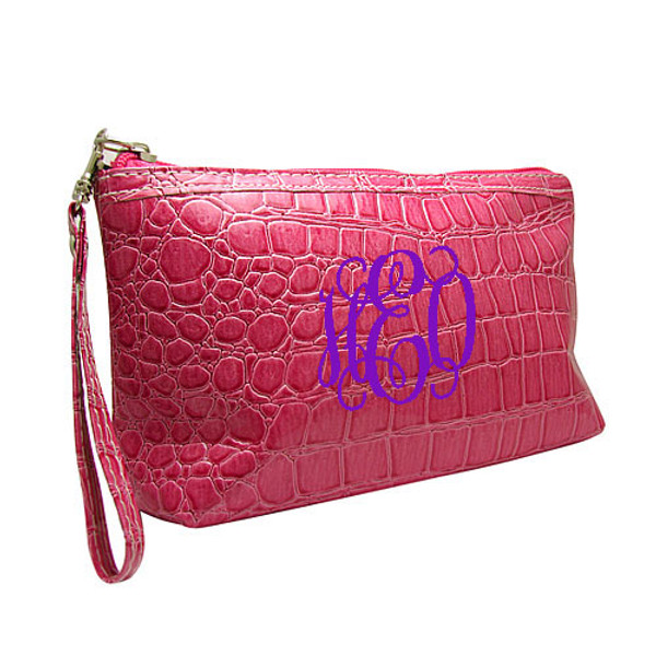 Monogrammed Croc Wristlet www.tinytulip.com Hot Pink Wristlet with Purple Interlocking Font