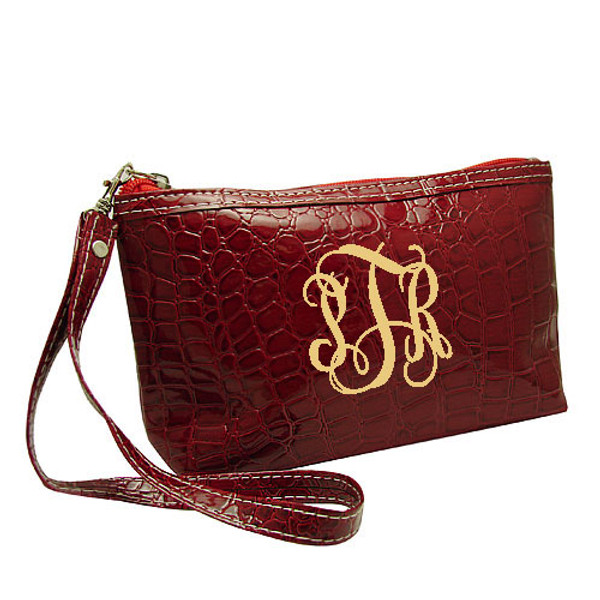 Monogrammed Croc Wristlet www.tinytulip.com Red Wristlet with Cream Interlocking Font