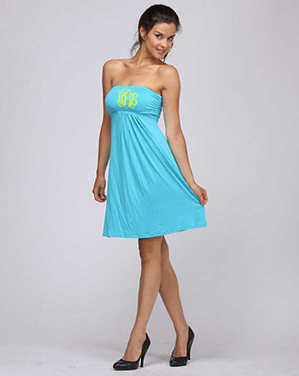 Monogrammed Strapless Tube Dress Swim Cover up www.tinytulip.com