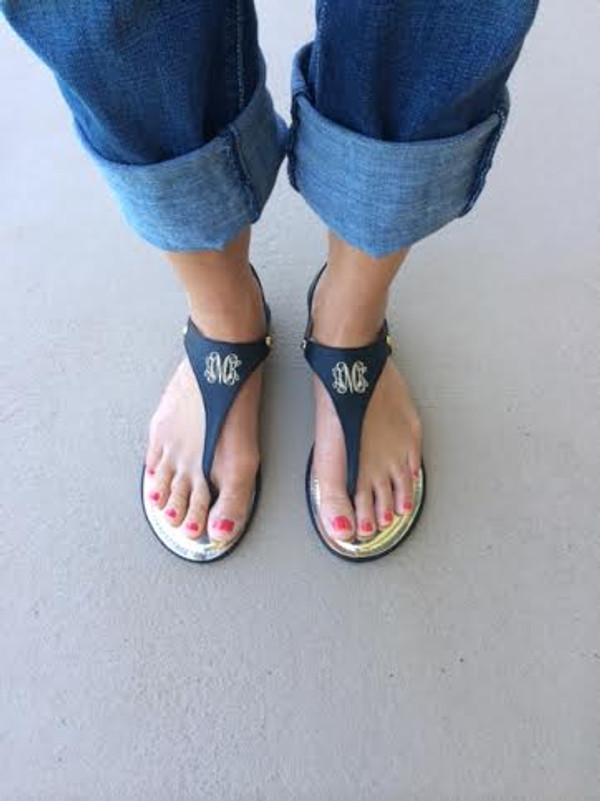 Monogrammed Thong Sandals