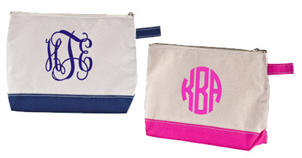 Monogrammed Canvas Cosmetic Bag www.tinytulip.com