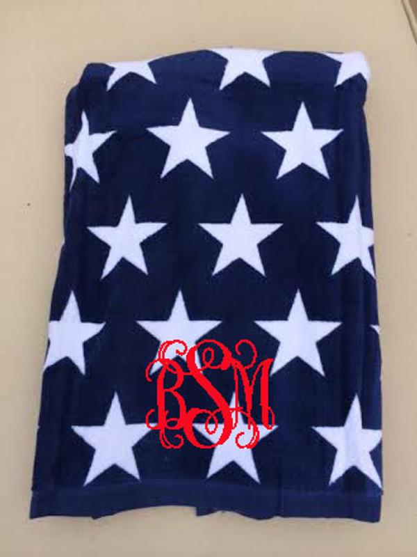 Monogrammed Star Towel www.tinytulip.com Red Interlocking Font