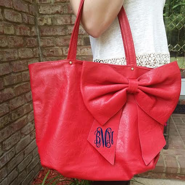 Monogrammed Bow Shoulder Purse  www.tinytulip.com Interlocking Font with Navy Thread on a Red Purse