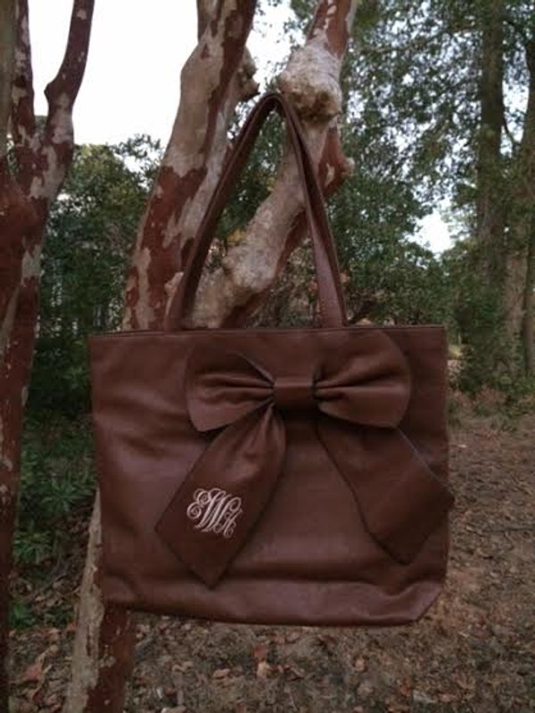 Monogrammed Bow Shoulder Purse  www.tinytulip.com Emma font with Cream Thread on a Brown Purse