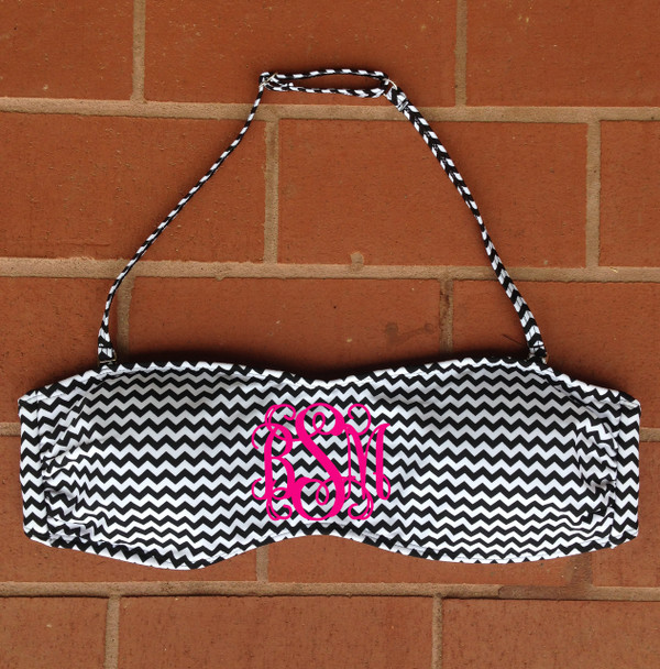 Monogrammed Black and White Chevron Bandeau with Straps