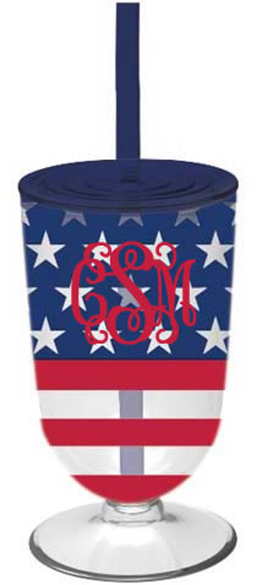 Monogrammed Stars and Stripes Tumbler