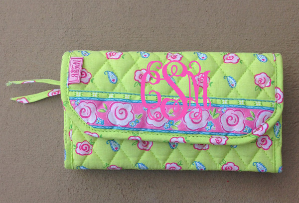 Crossbody Quilted Pattern Wallet www.tinytulip.com Lime Green Flowers