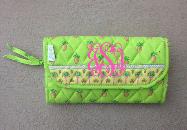 Crossbody Quilted Pattern Wallet www.tinytulip.com Lime Green Pineapples