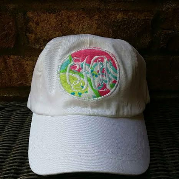 Monogrammed Lilly Pulitzer Fabric Baseball Hat www.tinytulip.com White Interlocking with Hotty Pink Lemonade on White Hat