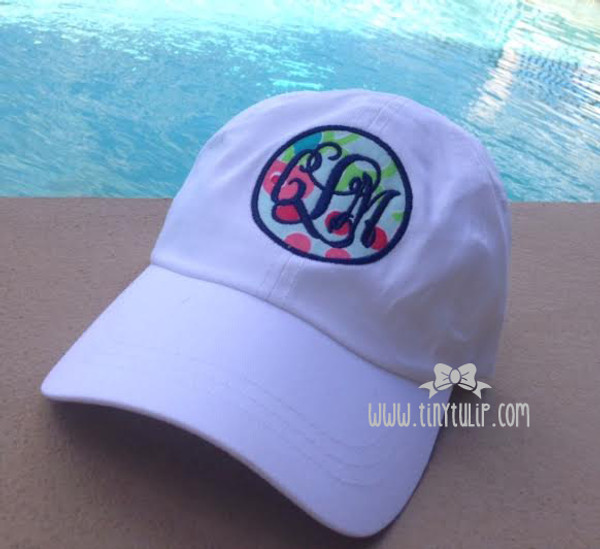Monogrammed Lilly Pulitzer Fabric Baseball Hat www.tinytulip.com Navy Interlocking with Checking in Blue Fabric on White Hat