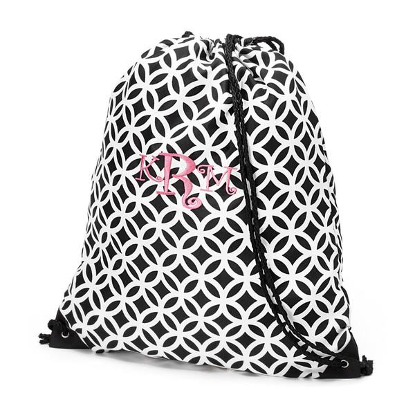 Monogrammed Black Geometric Drawstring Gym Backpack