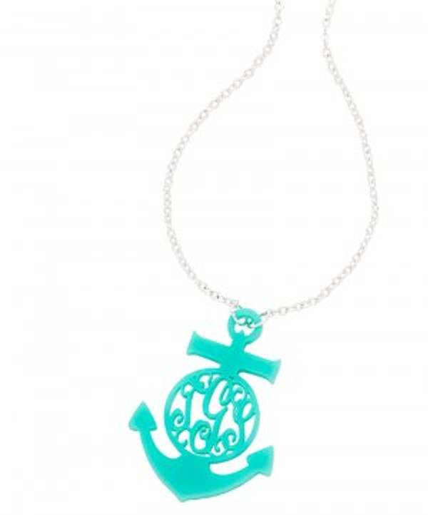 Monogrammed Anchor Acrylic Necklace www.tinytulip.com