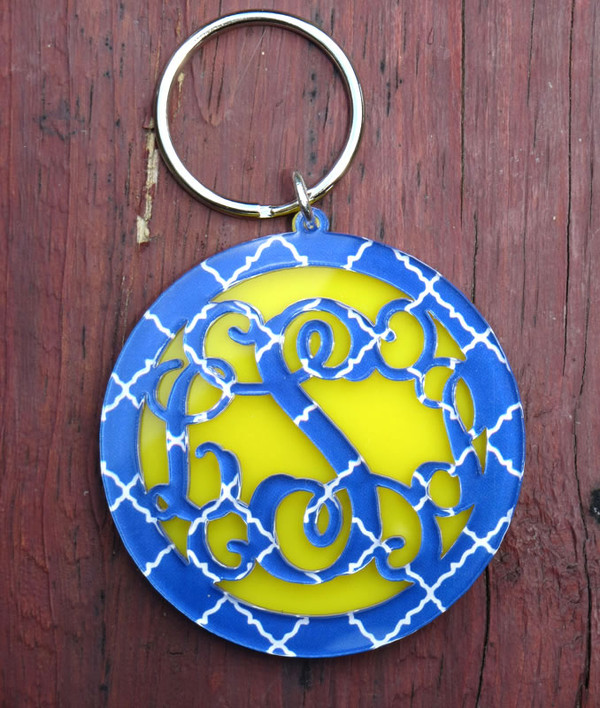 Chevron Layered Circle Monogram Keychain
