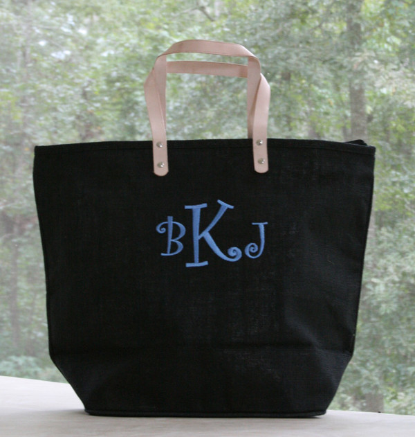 Paris Style - Large Jute Tote  www.tinytulip.com Black Jute Tote with Baby Blue Curly Font