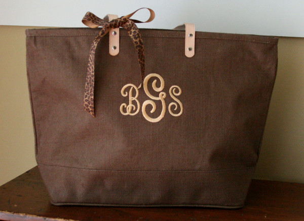 Paris Style - Large Jute Tote  www.tinytulip.com Brown Jute Tote with Tan Swirly Font