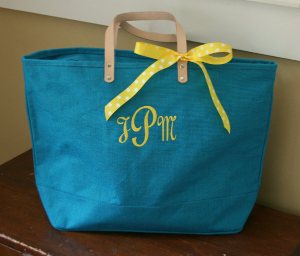 Paris Style - Large Jute Tote  www.tinytulip.com Turquoise Jute with Gesselle Yellow Font