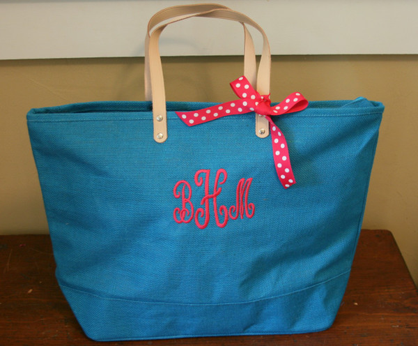 Paris Style - Large Jute Tote  www.tinytulip.com Turquoise Jute with Swirly Hot Pink Font