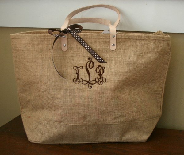 Paris Style - Large Jute Tote  www.tinytulip.com Sand Jute Tote with Brown Victory Font