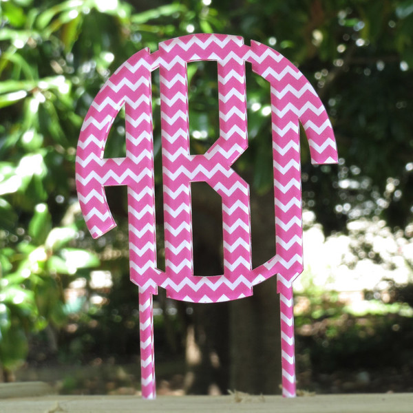 Chevron Monogram Cake Topper