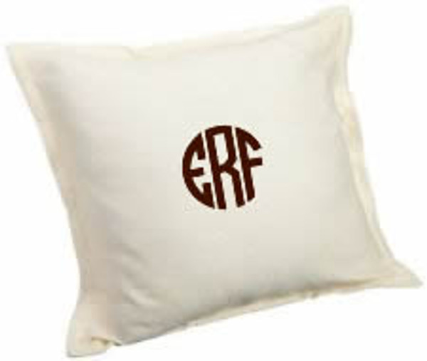 Monogrammed Medium Square Sham www.tinytulip.com Ecru with Dark Chocolate Brown Circle Monogram