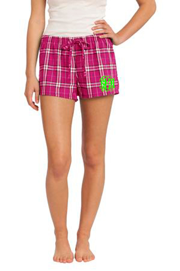 Monogrammed Pink Plaid Boxer Shorts www.tinytulip.com Lime Green Interlocking Font on Pink Shorts
