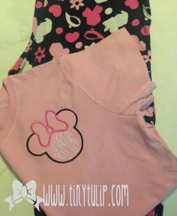 Monogrammed Minnie Mouse Shirt www.tinytulip.com