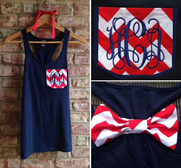 Monogrammed Red Chevron Pocket Bow Navy Racerback Tank with Navy Interlocking Font www.tinytulip.com