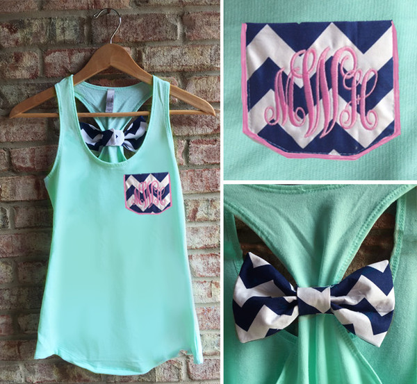 Monogrammed Navy Chevron Pocket Bow Mint Racerback Tank with Preppy Pink Interlocking Font www.tinytulip.com