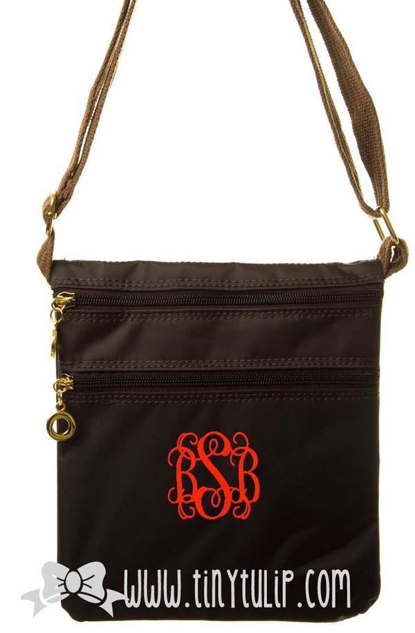Monogrammed Longchamp Style Messenger Bags www.tinytulip.com Red Interlocking on Brown