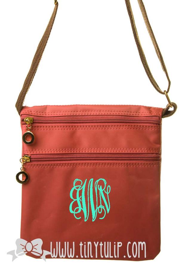 Monogrammed Longchamp Style Messenger Bags www.tinytulip.com Mint Interlocking on Coral