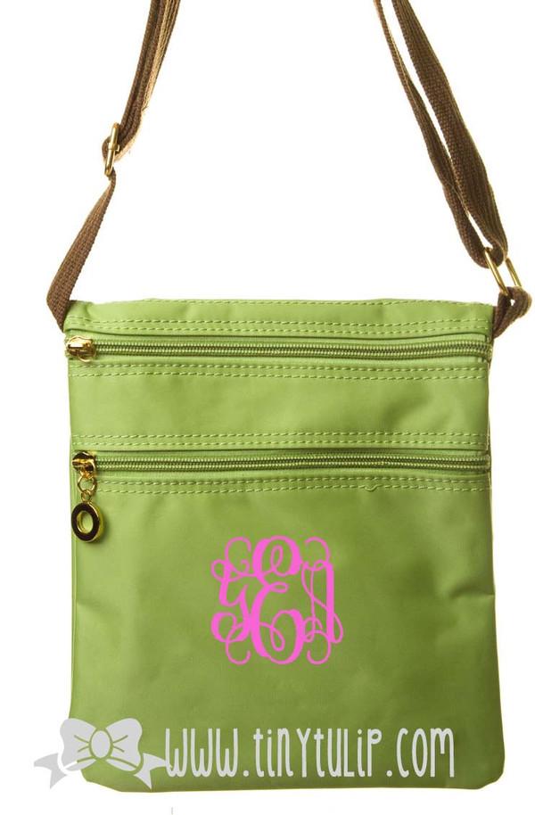 Monogrammed Longchamp Style Messenger Bags www.tinytulip.com Pink Interlocking on Lime Green