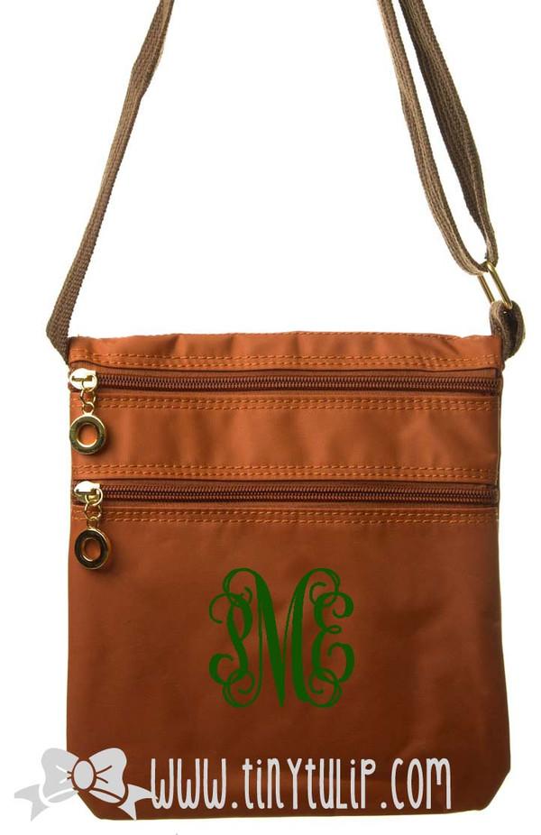 Monogrammed Longchamp Style Messenger Bags www.tinytulip.com Kelly Green on Orange
