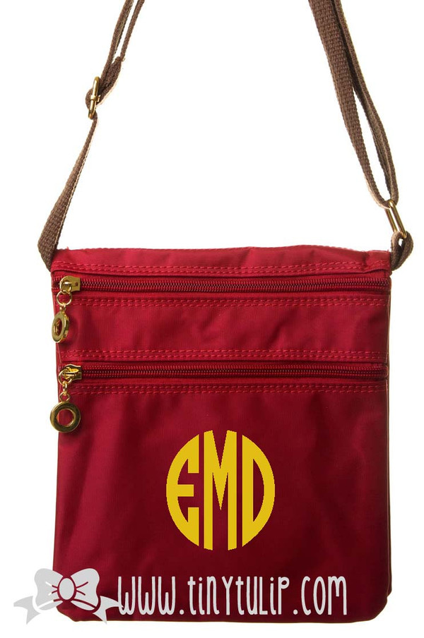 Monogrammed Longchamp Style Messenger Bags www.tinytulip.com Gold Circle on Red
