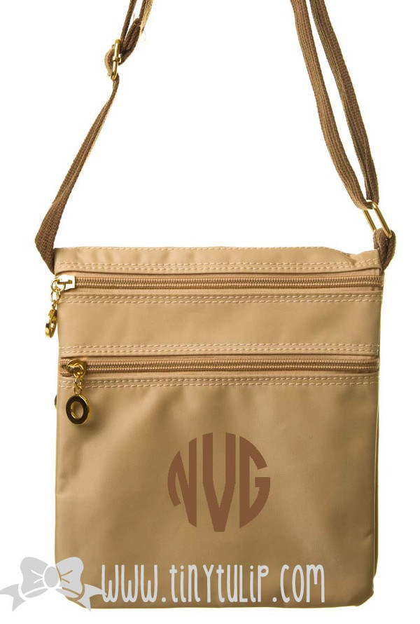 Monogrammed Longchamp Style Messenger Bags www.tinytulip.com Taupe Circle on Taupe