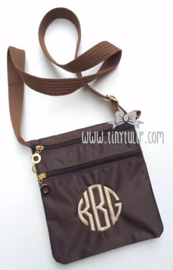 Monogrammed Longchamp Style Messenger Bags www.tinytulip.com Brown with Khaki Circle Font