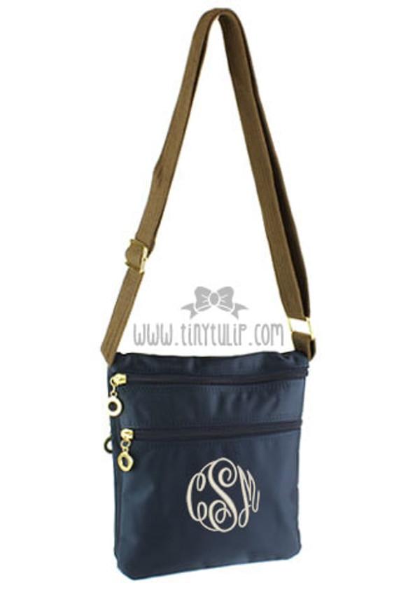 Monogrammed Longchamp Style Messenger Bags www.tinytulip.com Navy with Cream Master Script Font