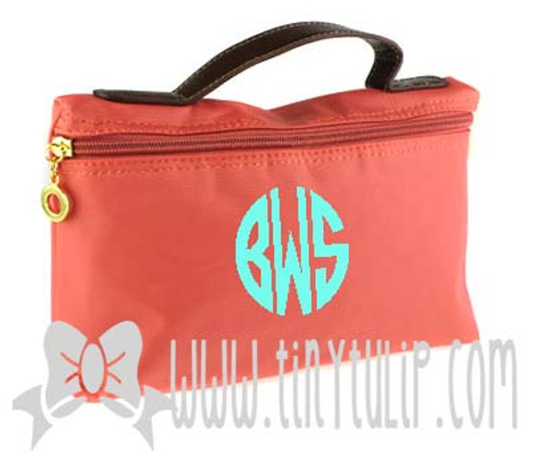 Monogrammed Longchamp Style Cosmetic Bags  www.tinytulip.com Turquoise Circle Font on Coral