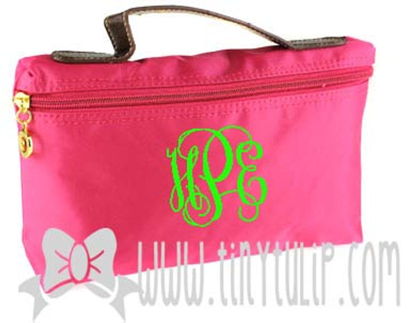 Monogrammed Longchamp Style Cosmetic Bags  www.tinytulip.com Lime Green Interlocking on Hot Pink