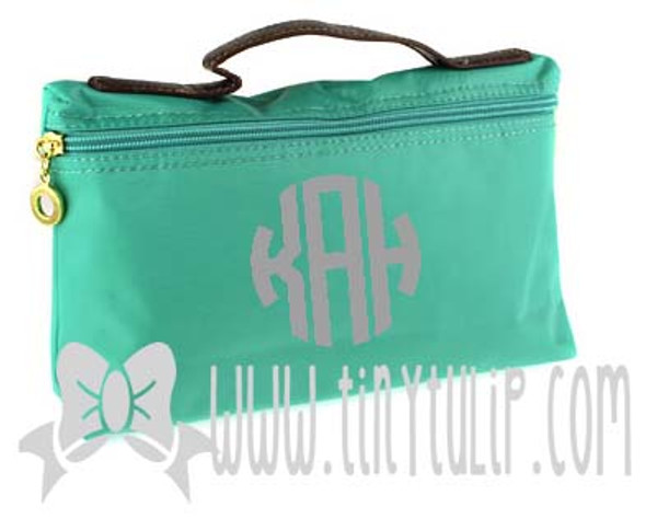 Monogrammed Longchamp Style Cosmetic Bags  www.tinytulip.com Charcoal Gray Circle on Turquoise