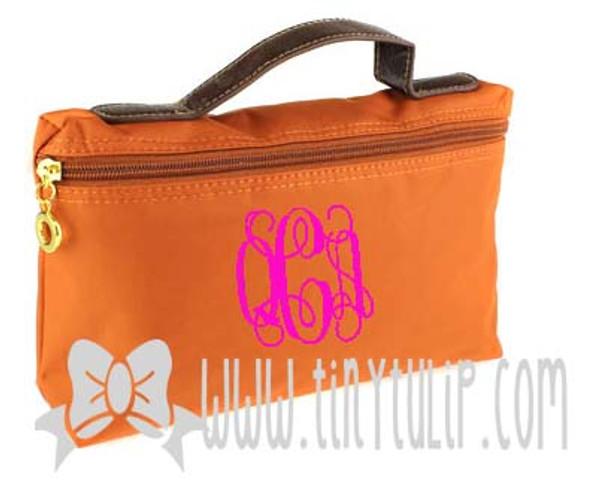 Monogrammed Longchamp Style Cosmetic Bags  www.tinytulip.com Hot Pink Interlocking on Orange