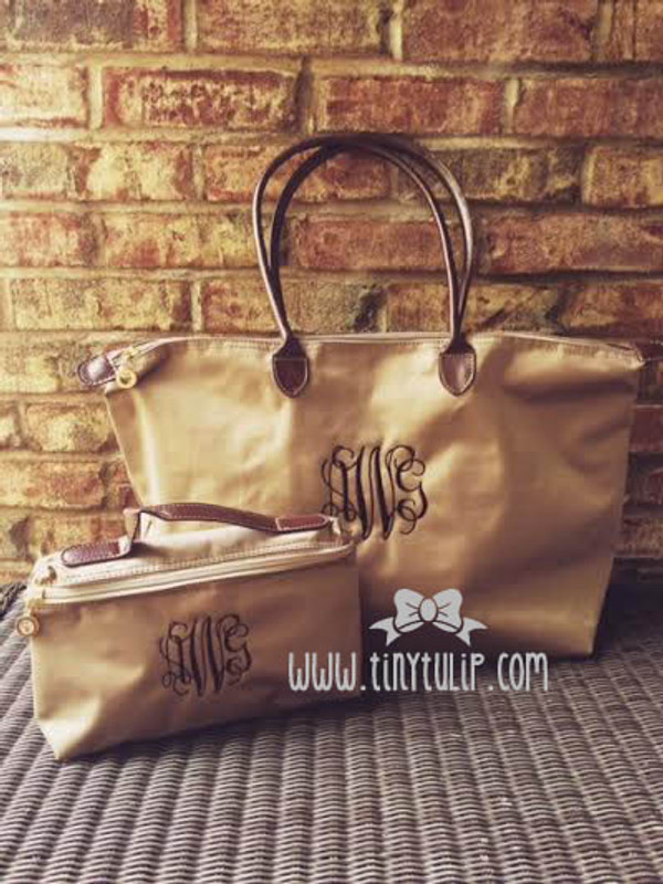 Monogrammed Longchamp Style Cosmetic Bags  www.tinytulip.com Brown Interlocking Font on Taupe