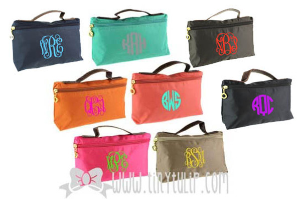 Monogrammed Longchamp Style Cosmetic Bags  www.tinytulip.com