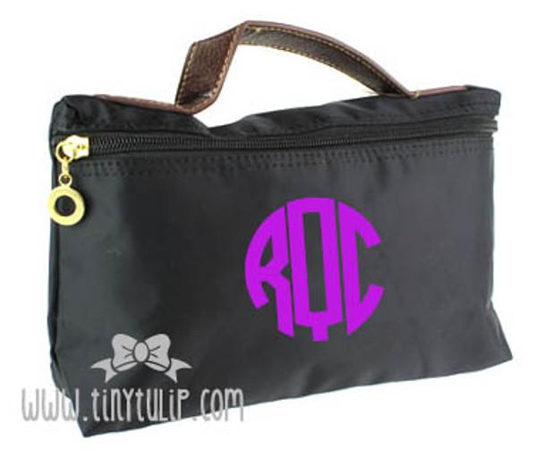 Monogrammed Longchamp Style Cosmetic Bags  www.tinytulip.com Purple Circle on Black