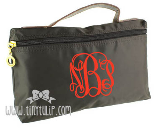 Monogrammed Longchamp Style Cosmetic Bags  www.tinytulip.com Red Interlocking on Brown