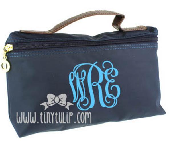 Monogrammed Longchamp Style Cosmetic Bags  www.tinytulip.com Turquoise Interlocking on Navy