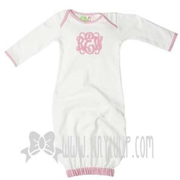 Monogrammed Pink Seersucker Trim Baby Gown www.tinytulip.com
