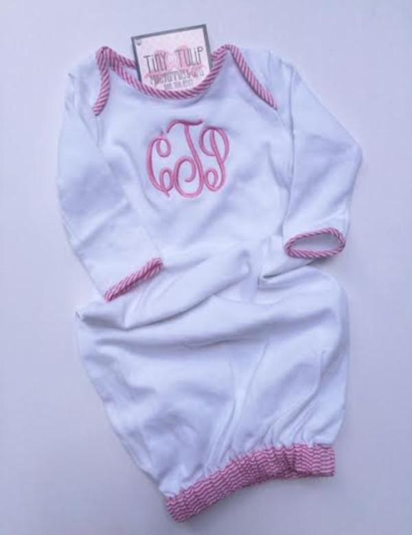 Monogrammed Pink Seersucker Trim Baby Gown www.tinytulip.com Preppy Pink Master Script Monogram