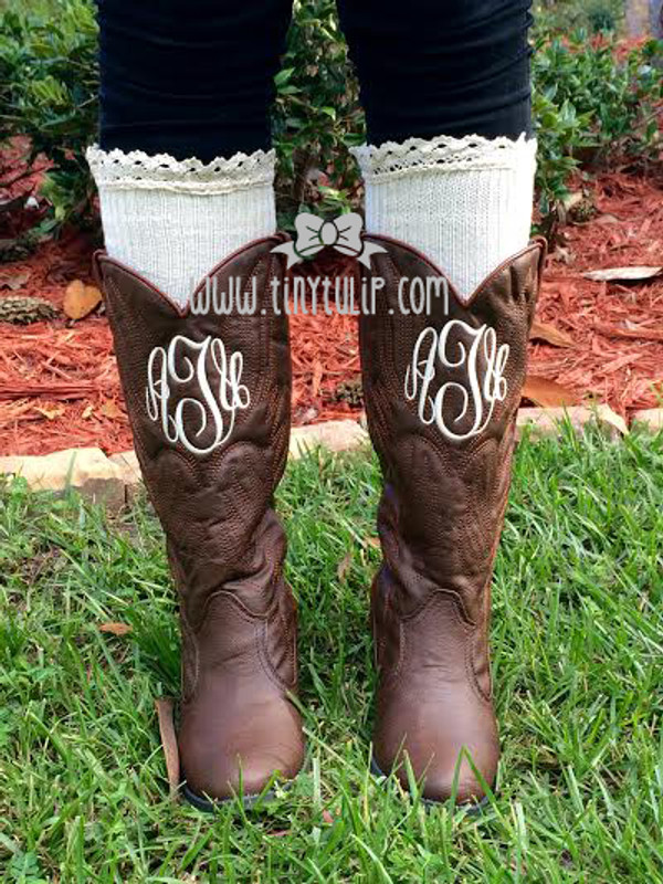 Monogrammed Brown Cowboy Western Boots Size 6 www.tinytulip.com Cream Master Script Font