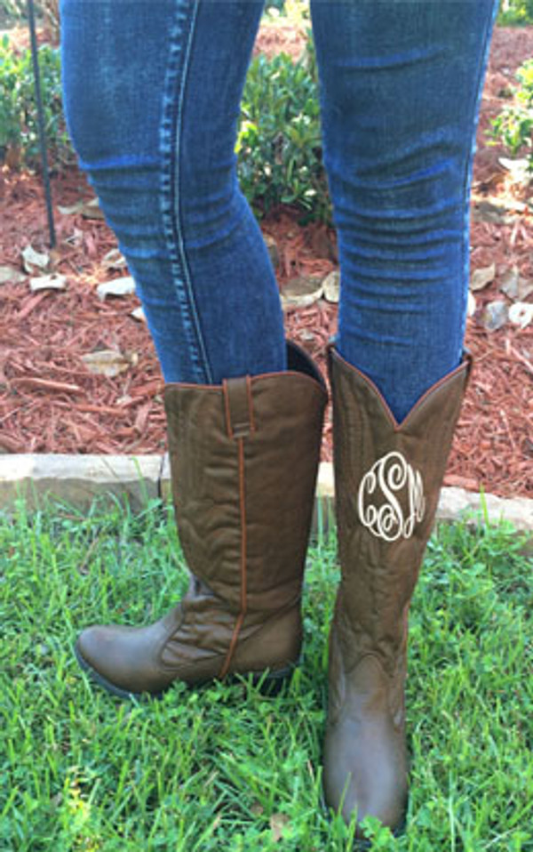 Monogrammed Brown Cowboy Western Boots Size 7 1/2 www.tinytulip.com Side View