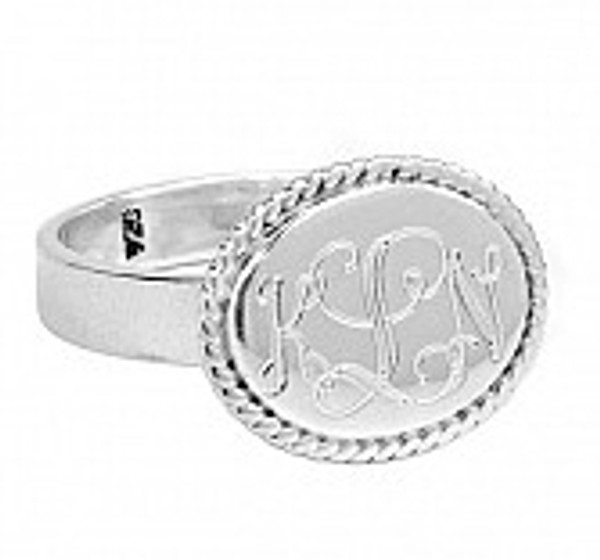 Engraved Oval Sterling Silver Monogrammed Ring www.tinytulip.com